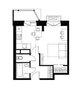 Планировка 1-комнатной квартиры в Лайково - тип 1